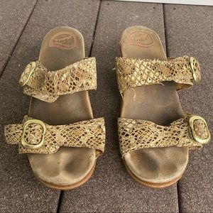 Dansko Sophie Double Strap Snakeskin Sandals 38